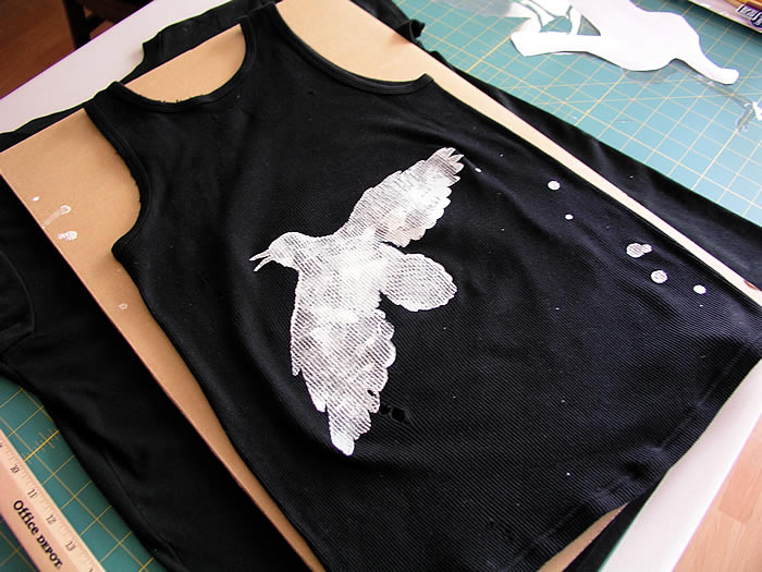 Glow in the dark crow stencil